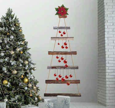Mooie decoratieve kerstboom muursticker ontwerp om het huis te versieren voor kerst. Het is gemakkelijk aan te brengen en gemaakt van hoogwaardig vinyl.
