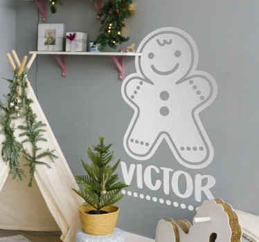 Paste de naam van w  kind aan op ons mooie kerstkoekjes met naam muursticker ontwerp. Het is verkrijgbaar in verschillende kleuren en maatopties.