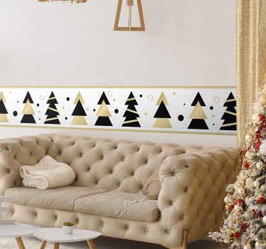 クリスマスのためのあなたのスペースを照らす装飾的なエレガントなクリスマスツリーのボーダーステッカー。適用が簡単で、高品質の素材で作られています。
