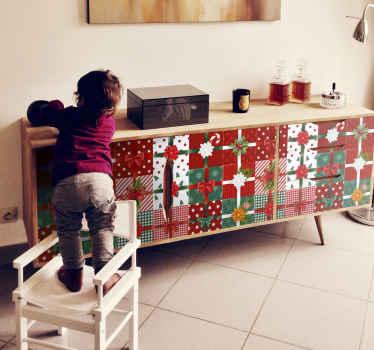 ギフトボックスのパターンで設計されたクリスマスの装飾的な家具のステッカー。クリスマス用のギフトボックスのさまざまなスタイルとパターンがあります。