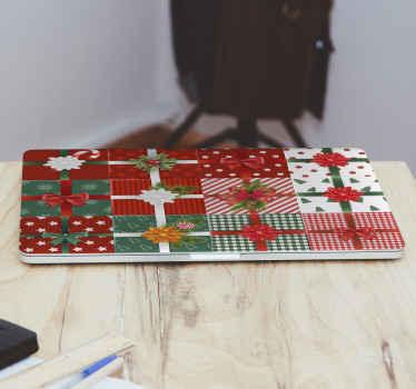 Kerst decoratief laptop sticker ontwerp gemaakt met de prints van verschillende geschenkverpakkingen. Het is gemakkelijk aan te brengen en gemaakt van het beste vinyl.