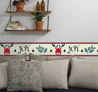 Decorative Christmas sticker for border space. The design is featured with reindeer, ornamental flowers and inscription that says ''Joy''.