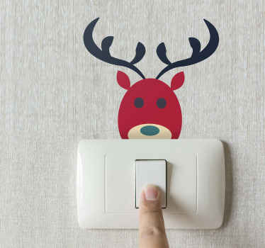 Decorative Christmas switch cover sticker design featured with a reindeer. It is easy to apply and removable anytime. Available in any required size.