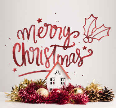 Decorative merry Christmas text wall sticker to decorate any space with the touch of Christmas. It is easy to apply and made from high quality vinyl.