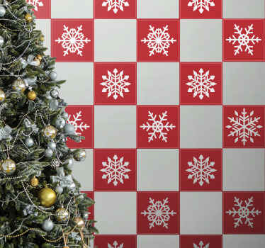 Decorative red snowflakes Christmas tile wall sticker idea to decorate a bathroom or kitchen space for Christmas. Easy to apply and of great quality.
