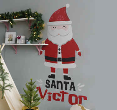 Give your kid the joy of Christmas in our costumed Santa clause Christmas wall sticker personalisable with any name of choice. It is easy to apply.