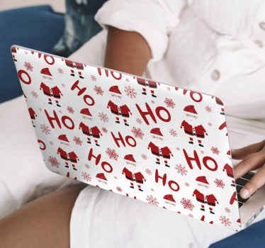 """Vinil para laptop decorativo con fondo blanco y patrón con diseños de Papá Noel y la frase """"hohoho"""". Compra online ¡Envío a domicilio!"""