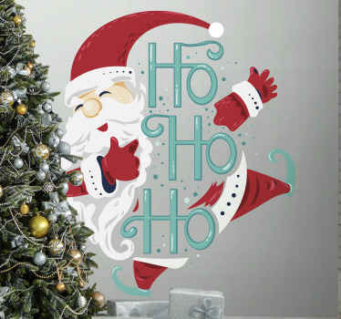 Santa Claus Ho Ho Ho Christmas sticker design to decorate the home for Christmas. It is easy to apply and made from high quality vinyl.