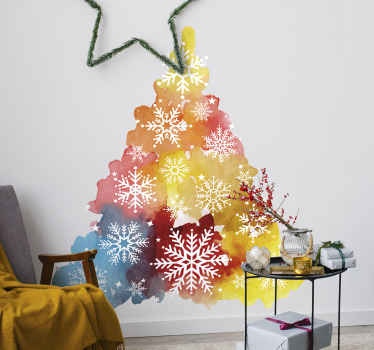 Multicolored ornamental snowflake Christmas tree wall sticker design to decorate the home with the aura and statement of Christmas in a lovely way.