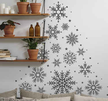 Christmas decorative home wall sticker design of ornamental snowflakes printed in a Christmas tree style. It is customisable in different colours.