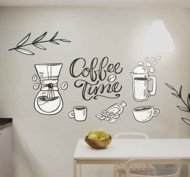 Assinatura decorativa da bebida do café em seu espaço para uma mudança. Um vinis decorativos com bebida que acompanha xícaras de café e outros elementos