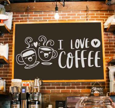 I love coffee tekst muursticker ontwerp. Dit ontwerp wordt aanbevolen voor bar, restaurant en thuis. Het is gemakkelijk aan te brengen en zelfklevend.