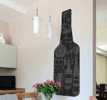 Drink wall sticker design of a wine bottle with various wines glasses design on it surface. A lovely kitchen and dinning decoration for home.