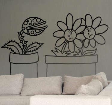 Adhésif mural plante carnivore