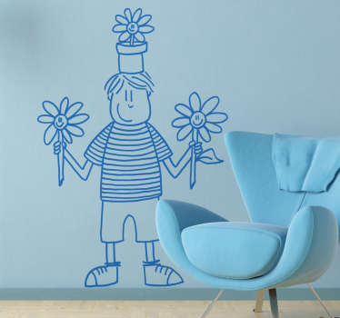 Wall Stickers - DEIA illustration. A young boy holding flowers. Playful and fun feature. Available in various colours and sizes.
