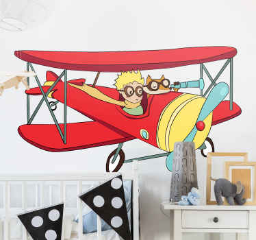 Little prince plane fairy tale sticker for children space. The design is an airplane with a little boy flying the plane.