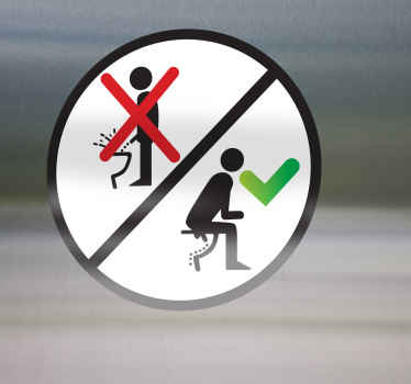 A funny sign decal illustrating how the gents should urinate properly without making a mess. Decorate your toilet with hilarious sticker!