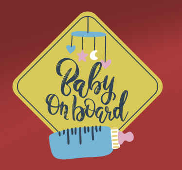 Baby on board theme car sticker design to a decorate a vehicle space to alert other road users of a baby passenger. Easy to apply and of high quality.