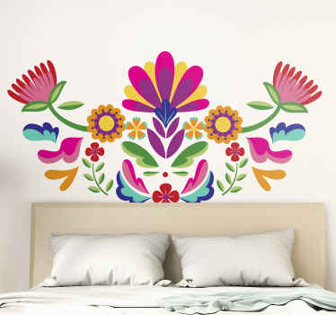 Mexican flower headboard sticker. A colorful floral enhancement on any space, it is pretty and would add a colorful touch to your space.