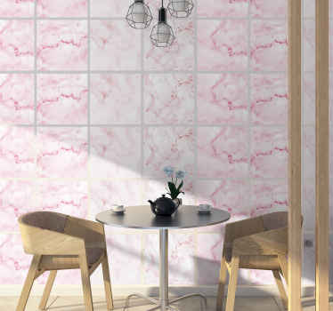 Waterproof decorative tile sticker design with a pink marble texture. The design is decorative on any space. Available in any required size.