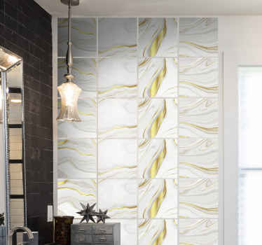 Ornamental decorative gold marble texture tile sticker design. It is original, durable and of high quality vinyl. Available in any size required.