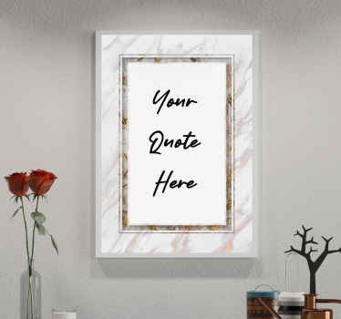 Personalisable marble  texture wall decal, it is created in a frame background style with marble texture and text. Available in any size you want.