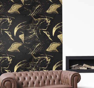Black and gold ornamental marble texture wall sticker to decorate any space with a touch of class and exclusiveness.Easy to apply and of high quality.