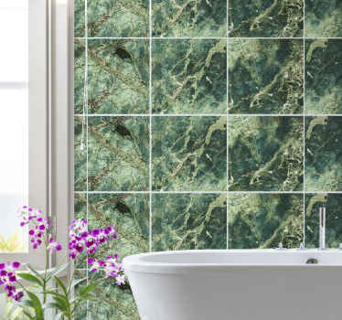 Grøn marmor tekstur vægklistermærke, det fantastiske design kan dekoreres på et badeværelsesplads for at give det et klassisk og forbløffende udseende.