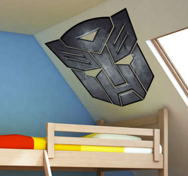Decorative sticker of the Transformers logo. Brilliant to decorate your room.