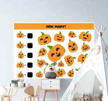 Educative Halloween sticker for children. It contains a lot of orange pumpkins on square background  with math illustration.