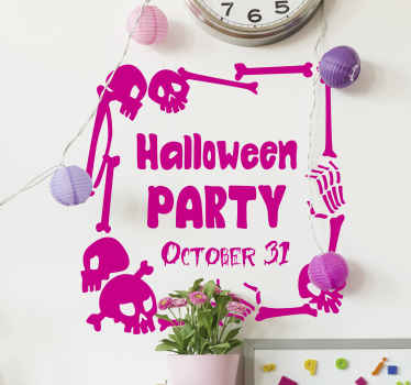 Party hard in Halloween and invite friends with our decorative Halloween party sticker.  The design has different skulls and bone design.