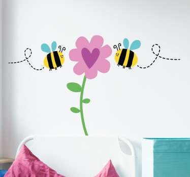 Cute Wall art sticker of bees pollinating a plant with a love heart. The insect sticker creates a nice atmosphere wherever it is place.