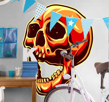 A realistic skull stickerdesign for Halloween decoration The design is an original art creation of a skull in colorful pattern.