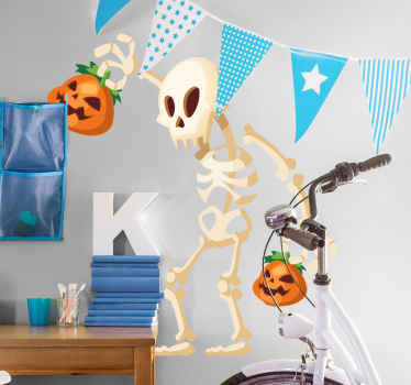 An interesting decorative Halloween festival wall sticker design. The design is featured with a skeleton stealing a pumpkin.
