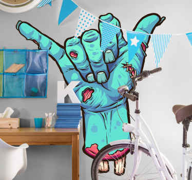 Decorative zombie shaka hang Halloween sticker.  The design is a shaka hang sign in a painted art texture in blue colour.