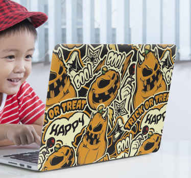 Looking for decorative ghost pattern Halloween decal for laptop? Here is a graffiti design of scary pumpkins, treak or treat with other features.