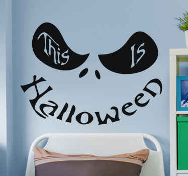 An iconic Halloween sticker with the design features that make up a smiley face. The text says ''This is Halloween''. Available in different colours.