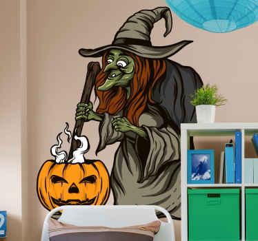 Bruxa e autocolante de halloween de abóbora. Este produtoficaria horrível em qualquer espaço. Está disponível em qualquer tamanho necessário e sua aplicação é fácil.