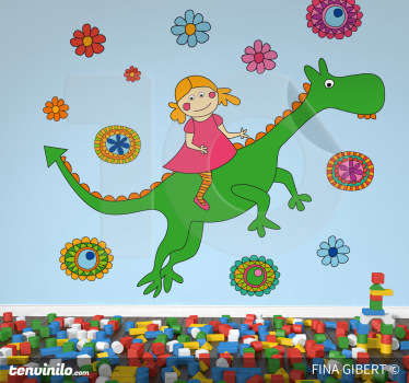 Dragon and Flowers Wall Stickers