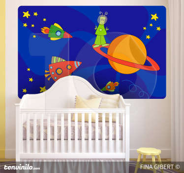Kids Wall Stickers - Original illustration with an imaginative space theme. An alien on a planet surrounded by space ships, rockets and stars.