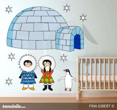 Original children's decal by illustrator Fina Giber of a pair of cute eskimos accompanied by a penguin and igloo.