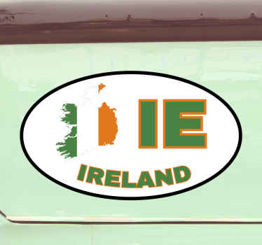 Ireland location car sticker, an oval shape background design with Ireland map and abbreviation. Available in any size required.