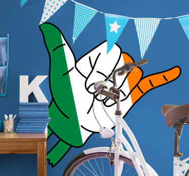 Irish Shaka sign flag decal, a colorful country iconic sticker that can be applied on any flat surface of choice. Available in any size you want.