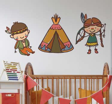 Sticker decorativo que muestra una simpática ilustración de dos niños indios junto a su tienda.