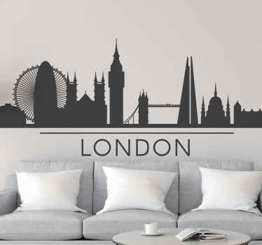 London skyline silhouette wall decal for a living room decoration. It is easy to apply and available in any size required.