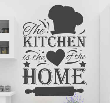 Cuisine text wall art sticker for kitchen. The design is created with the feature of a chef hat, rolling pin, text, heart shape and kitchen quote.
