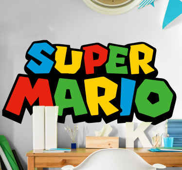 3D super Mario video game decal, a lovely room decoration for kids and teens. The design is an inscription of ''Super Mario'' in multicolored.