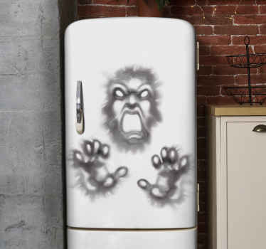 Decorative Halloween fridge decal with the design of a demon pulling from a wall. It is easy to apply and made of high quality.