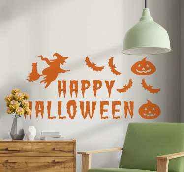 Beängstigend mit und kürbis halloween text Aufkleberdesign, um jeden Raum für halloween festival zu dekorieren. Es ist einfach anzuwenden und von hoher Qualität.