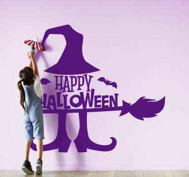 Dekorativer glücklicher halloween-aufkleberentwurf einer hexe, die auf einem besen fliegt. Es ist einfach anzuwenden und in verschiedenen Farben und größen erhältlich
